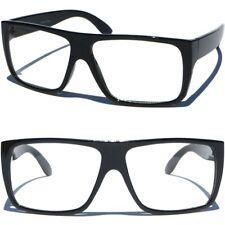 dfc63b46d82d FLAT TOP BLACK FRAME RETRO STYLE Classic Aviator Clear Lens Eye Glasses  Eyewear