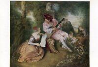 Alte Kunstkarte - Antoine Watteau - La Gamme D'Amour