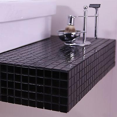 Shadow Black Gloss Classic/Contemporary Glass Mosaic Bathroom/Kitchen Wall Tiles