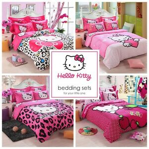 kids hello kitty bedding duvet quilt cover bedding set 16748 | s l300
