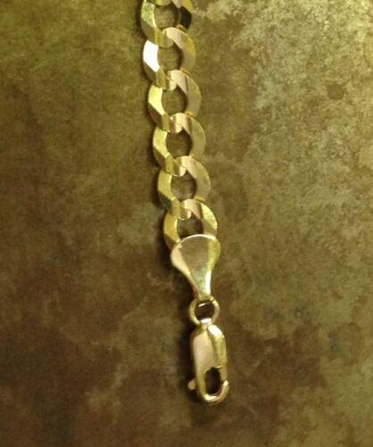 "10k Solid Gold Comfort Concave Cuban Curb Link Chain Bracelet 8/"" 4.6mm 4 grams"