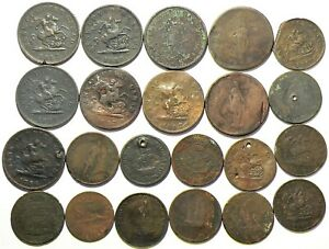 Colonial Tokens Canada Lot of 22 Copper #12562