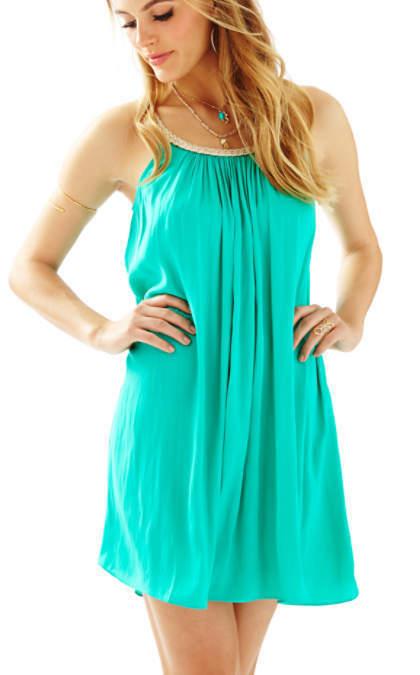 Nuevo con etiquetas LILLY PULITZER Sienna Laguna  verde metálico TRENZADO Escote Swing Dress S  entrega rápida