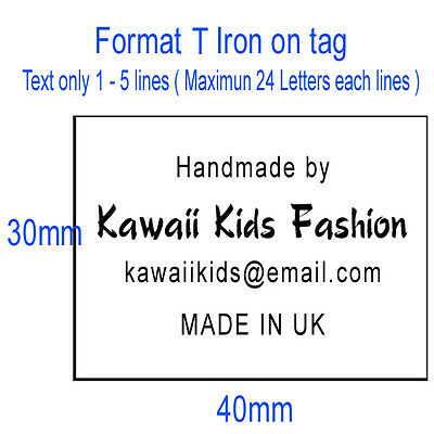 50x Custom clothes name label iron on tag garment school Personalized Tapes