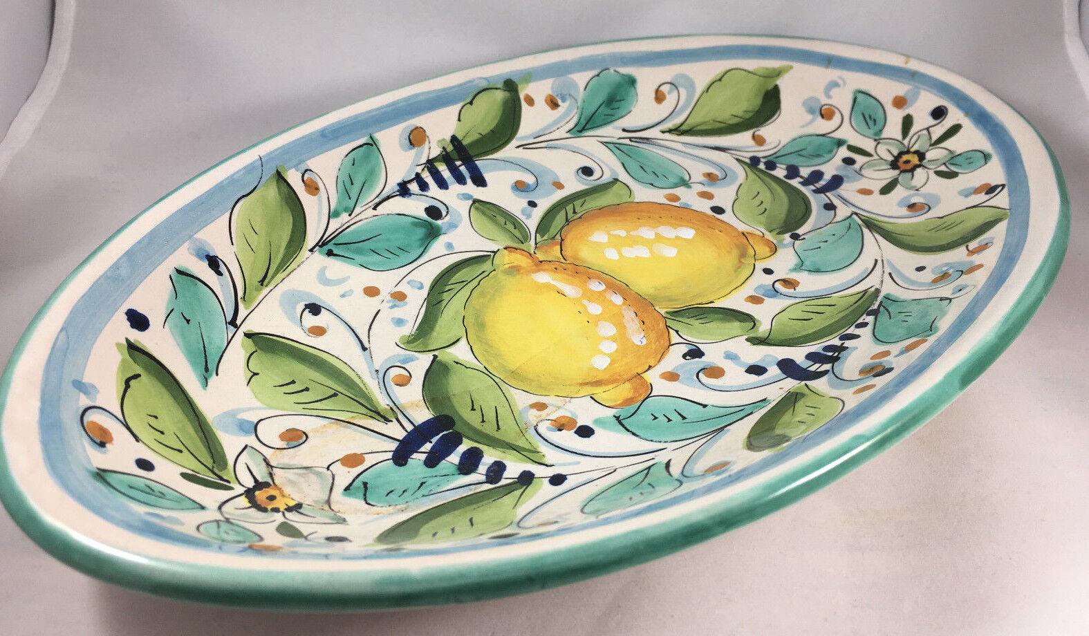 Oval Serving Platter Deruta Lemons Fruit Handpainted Leaves Leaf  13  Lemon