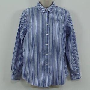 7b364f95b6 L.L. Bean Blue Striped Cotton Long Sleeve Button Front Women s Shirt ...