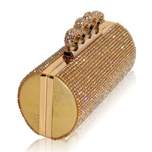 New Diamante Sparkly Silver Gold Clutch Party Evening Bridal Ring Clasp Handbag