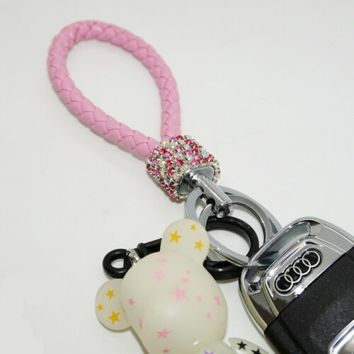 Pink Details about  /Crystal Diamond Key Chain with Double Holder for Key or Car Remote