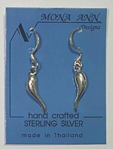 Image Is Loading 925 Sterling Silver Italian Horn Dangle Earrings 1