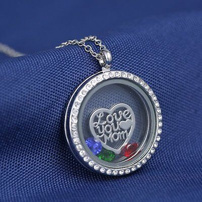 """Fashion 30mm """"Love You Mom"""" Floating Charms Glass Locket Chain Pendant Necklace"""