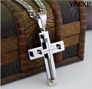 Men-039-s-Stainless-Steel-5mm-Silver-Cuban-Curb-Link-Chain-Necklace-Cross-Pendant