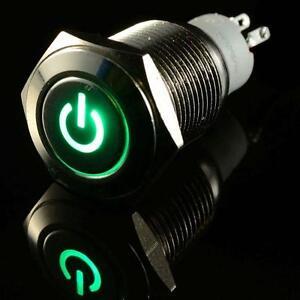 16mm-voiture-12V-Metal-LED-d-039-alimentation-Bouton-poussoir-interrupteur-Vert-AT
