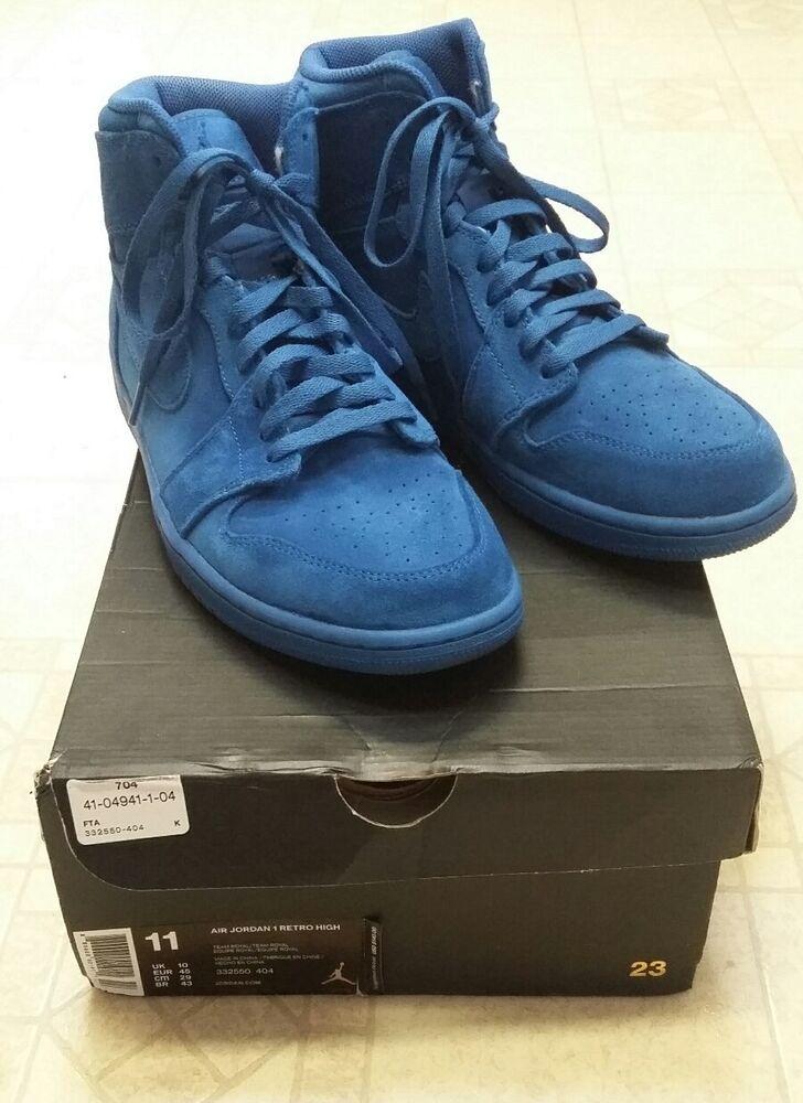 Mens Blue Suede Nike Air Jordan 1 Retro High athlétique chaussures 11