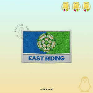 EAST RIDING County Flag With Name Embroidered Iron On Sew On Patch Badge