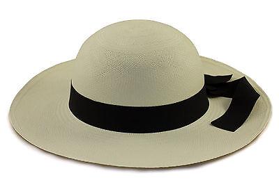 Ladies Sun White Panama hat with black band