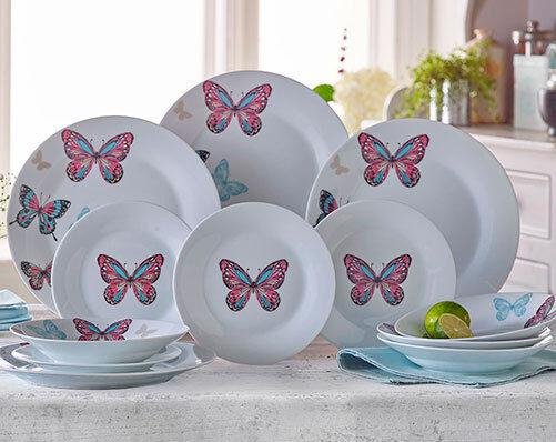 VINTAGE BUTTERFLIES 12 PIECE DINNER SET - 4 DINNER PLATES 4 SIDE PLATES 4 BOWLS