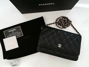 e779bea09 CHANEL Classic Timeless Black Caviar WOC Wallet On Chain Bag Gold ...