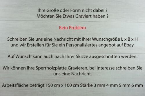 Laserzuschnitt 4mm Multi Sperr Holz Birke IF20 B//BB Wunschzuschnitt 115cm x 55cm