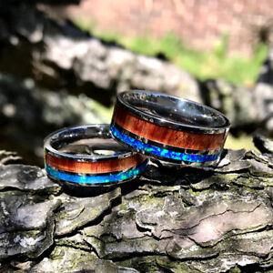 Couples Wedding Band Set His Her Wedding Rings Opal Koa Wood Stainless Steel