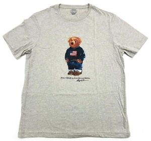 Ralph-Lauren-Polo-Bear-Tee-Preppy-Heather-Grey-Mens-Size-Large-T-Shirt-Gray-New