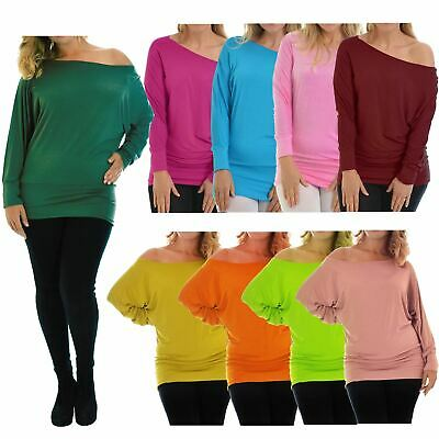 New Womens Plus Size Off Shoulder Long Batwing Sleeve Slouch Baggy Tops 12-34