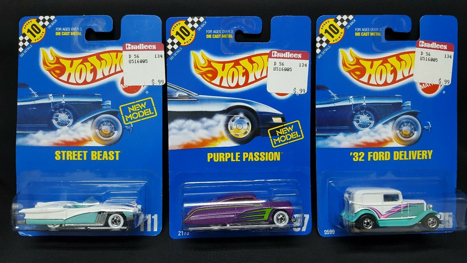 HOT WHEELS 1990 '32 FORD DELIVERY, STREET BEAST & PURPLE PASSION 10 SPEED POINTS