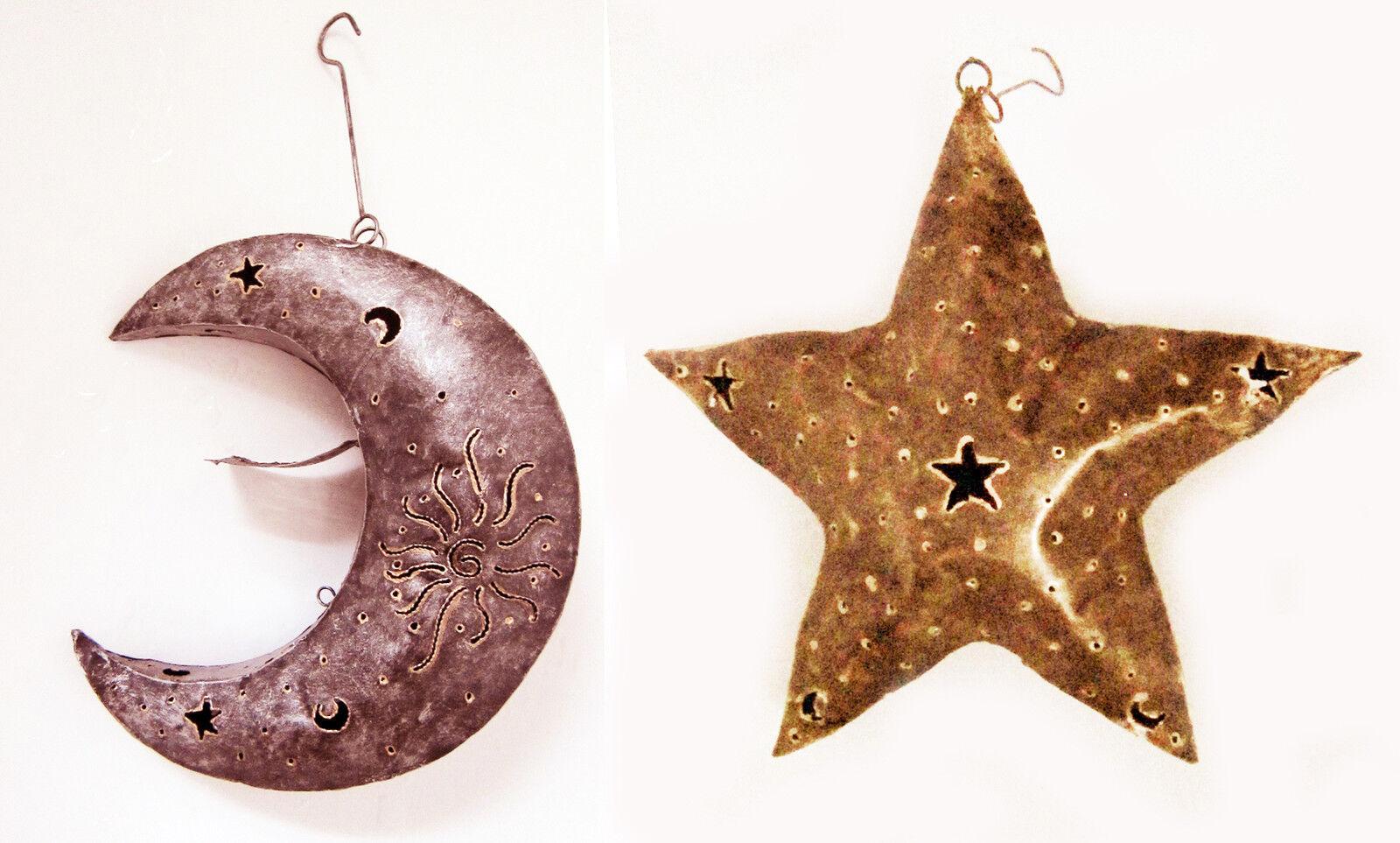 Wandbehang Mond   Sterne Metall Stahl Teelicht Halter für Drinnen   Außen Silber