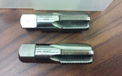 """2pcs 3//4/""""-14 NPT Taps Taper pipe solid M2 high speed steel,5 flt #NPT-34-new"""