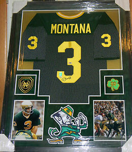 new style a58c8 2c0e4 Details about JOE MONTANA SIGNED JERSEY FRAMED SUEDE MATTING AUTO PSA DNA  NOTRE DAME 5