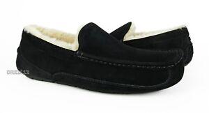 61158e6023e Details about UGG Australia Ascot Black Suede Fur Slippers Mens Size 9  (Fits size 8) *NIB*