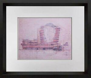 Frank-Lloyd-WRIGHT-Lithograph-LTD-Edition-GUGGENHEIM-Museum-w-Frame