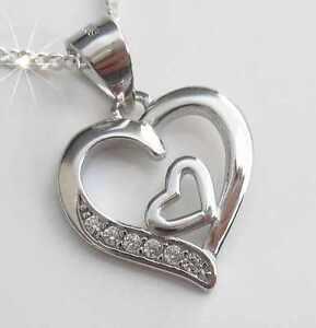 2-Herzen-Herz-Anhaenger-mit-Kette-Echt-Silber-Damen-schmuck-Geschenk-Herzanhaenger