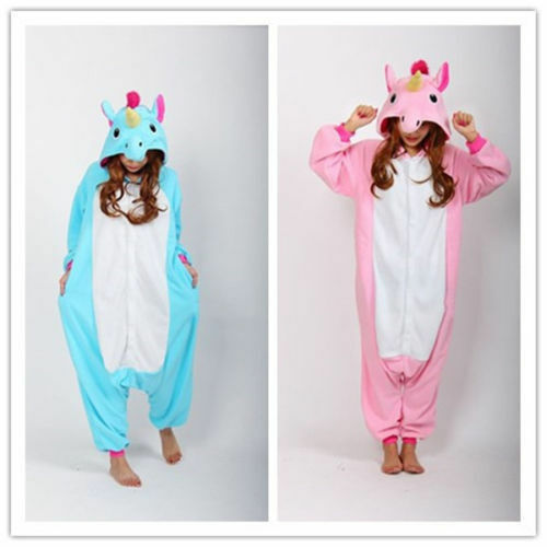New Pink Unicorn Pony Kigurumi Anime Cosplay Pyjamas Costume Hoodies Onesie99 UK