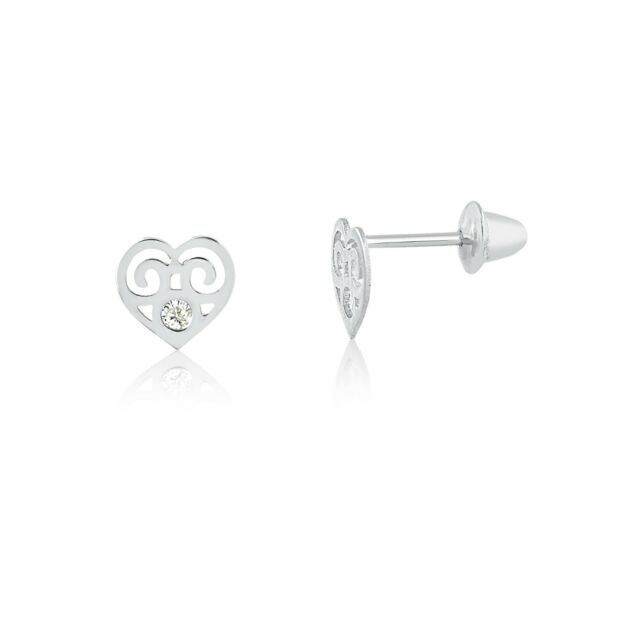 80079fe00 Frequently bought together. 18k Solid White Gold Heart Cubic Zircon  Children Screw Back Stud Earrings