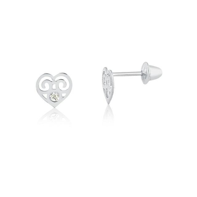 18k Solid White Gold Heart Cubic Zircon Children Back Stud Earrings