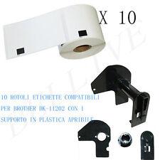 10 X Etichette Compatibili per Brother DK-11202 62mmX100mm QL-570 500 con Telaio