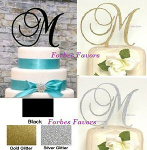 Wedding Cake Toppers Letters Black : Monogram Letter Acrylic Cake Topper Wedding Engagement ...