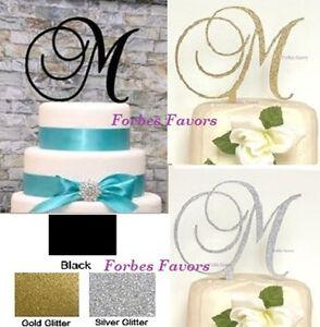Wedding Cake Toppers Letters Black : Monogram Letter Acrylic Cake Topper Wedding Engagement ...