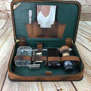 Vintage-Leather-Men-039-s-Travel-Vanity-Grooming-Toiletry-razor-Kit-Zipper-Case