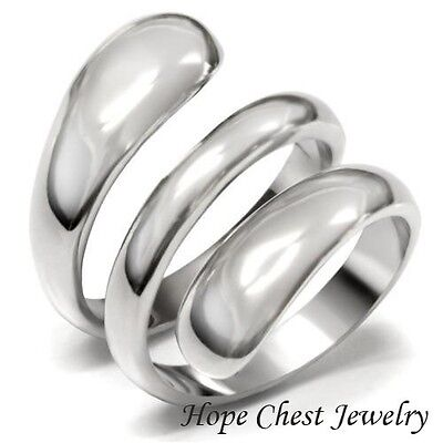 WOMEN'S SILVER STAINLESS STEEL SWIRL DESIGN WIDE BAND FASHION RING SIZE 5 - 10