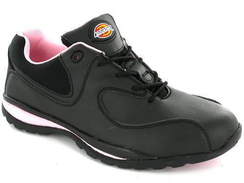 Dickies Ohio Negro Acero Puntera Zapatillas para mujer ligero UK3-8 de seguridad Black