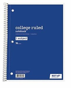 Six-6-One-Subject-College-Ruled-Spiral-Notebooks-70-Sheets-Ea-Ships-Today
