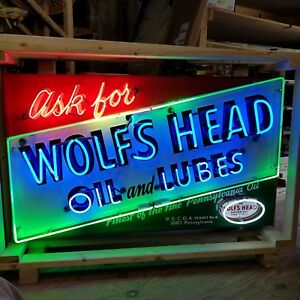 Details about New Wolf's Head Oil & Lubes Neon Sign 58