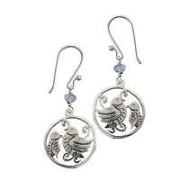 Quail Birds Dangle Earrings Sterling Silver White Metal Topaz Bead Gift Boxed