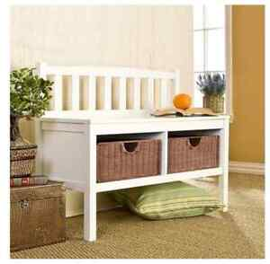 Pleasing Details About White Entryway Storage Bench Organizer Wood Wicker Shoe Baskets End Of Bed Seat Creativecarmelina Interior Chair Design Creativecarmelinacom