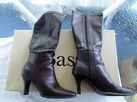Bass-venice Size 7 1/2 Women's 3 Heel Brown Vinyl 15 Boots Unused In Box