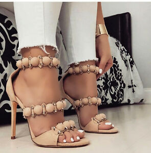 488197ed161e Image is loading Nude-Pom-Pom-Straps-Open-Toe-Celebrity-Style-
