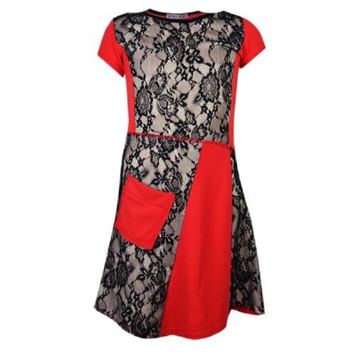 Girls Kids Stylish Party//Christmas//Casual Lace Winter// Autumn Dress AGE 7-13 Yrs