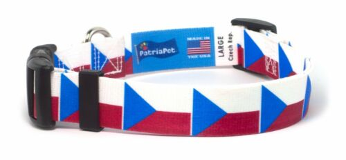 Czech Republic Flag Dog Collar by PatriaPet for Small Medium Large Dogs