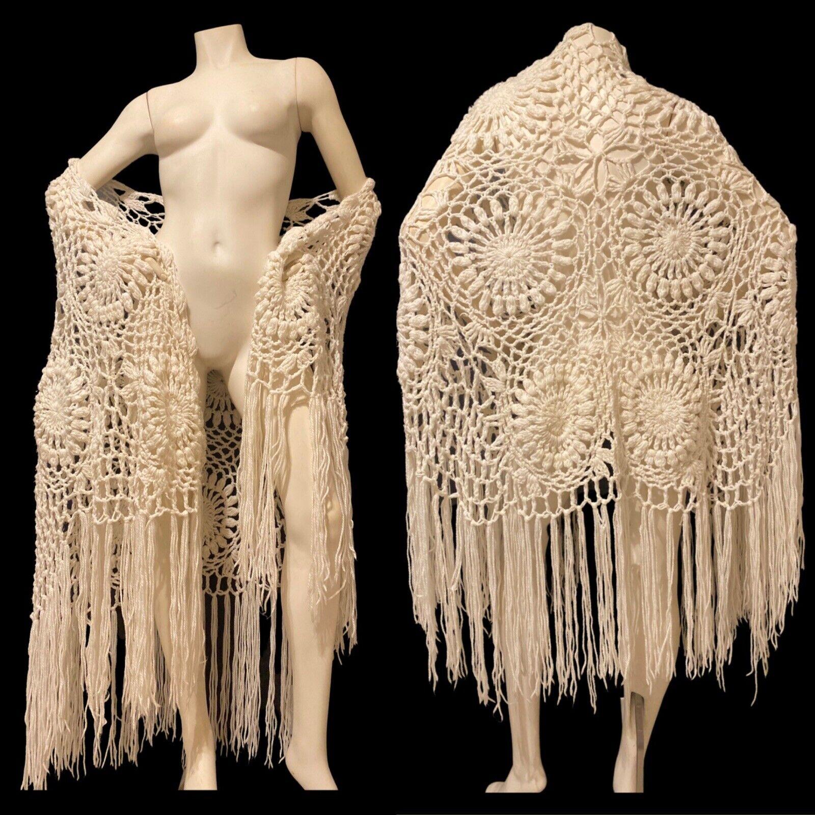 OSFM 1970s White Open Crochet Shawl Wrap Fringe Trim Bohemian Boho Hippie 70s